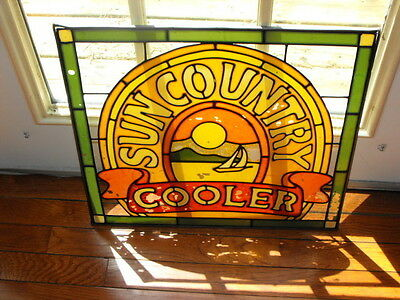 "Vintage Sun Country Cooler Glass Painted Sign 18.5""Wide x 17""Tall Very Cool Rare"