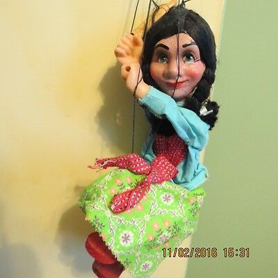 Vintage 1960's Mexican Marionette..Spanish GIRL WITH ROLLING PIN