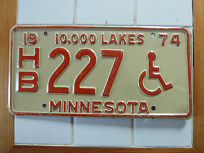Minnesota 1974 HANDICAPED License Plate #HB-227......204g