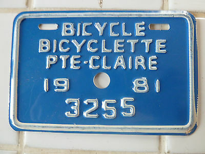 1981 Pointe-Claire BICYCLE License Plate #3255.........50gr