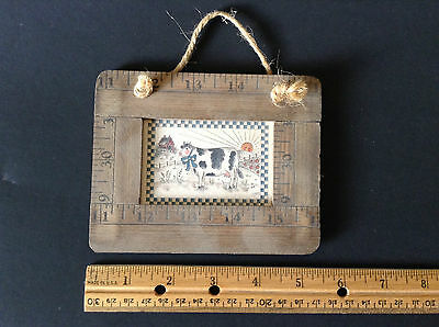 Small Folk Art Countryside COW Print with Wood Ruler Frame