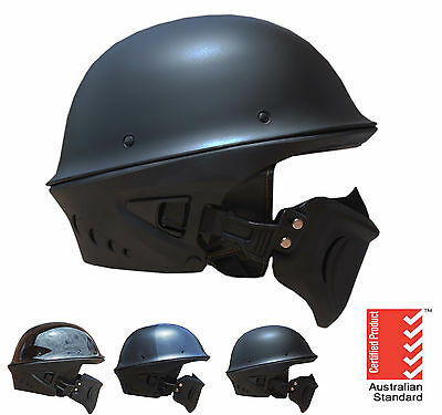 Chopper open face helmet Harley German Matt Black Gloss Black Carbon Graphics