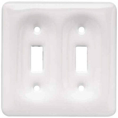 BRAINERD White Ceramic Double Light Switch Wallplate Wall Plate Outlet Cover