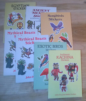 Mythical Beasts, Egyptian, Kachina, Ancient Mexican, Exotic Birds Sticker Lot
