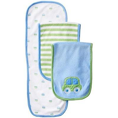 Gerber Baby Boys' 3 Pack Terry Burp Cloths, Blue, One Size New
