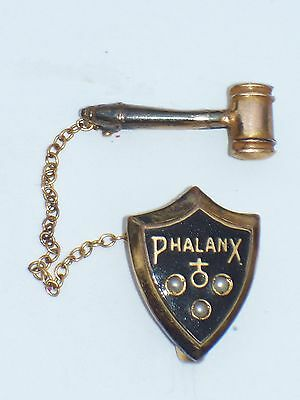 Vintage Gold Black Enamel with Seed Pearls  Phalanx Men's Fraternity Pin