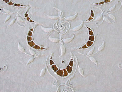 """Antique Cutwork Lace French Linen Embroidered FINE LINEN  Coverlet 103x85"""""""