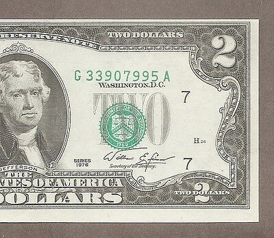 1976 G - $2 UNC * Miscut + Misalignment Shift Error * Note
