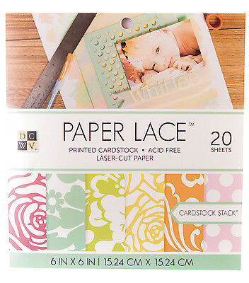 """DCWV 6""""x6"""" Paper Lace Double Sided Cardstock Stack   NEW"""