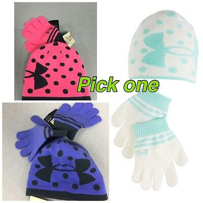 1 set NWT Under Armour toddler girl knit beanie & glove Sz:M 4-7 Year Polka Dot