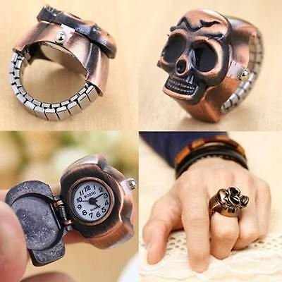 Mens Womens Retro Finger Ring Watch Unisex Cool Clamshell Ethnic Carved Watches