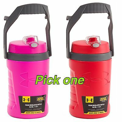 NEW UNDER ARMOUR 64oz Foam Insulated Hydration water Bottle RED/ Pink PICK Color