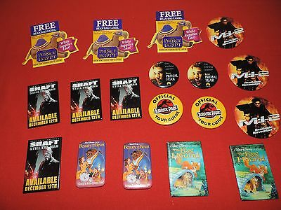 New Mixed Lot Of 18 Movie Video Promo Pins Badges Disney Action Jurassic Park
