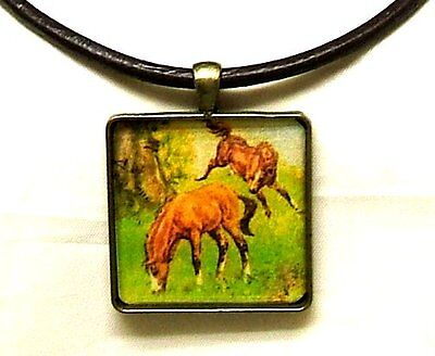Frisky Horses Horse Artisan Crafted Bronze Pendant And Brown Leather Necklace