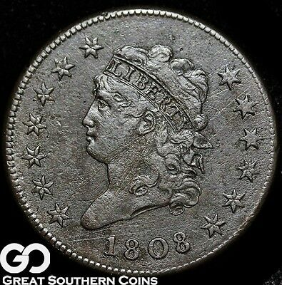 1808 Large Cent, Classic Head, Very Scarce Early Copper, XF Details, * Free S/H!