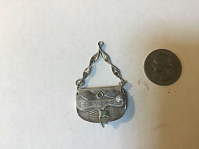 Antique Sterling Silver miniature purse very ornate 1800's
