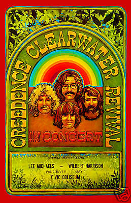 Classic Rock: Creedence Clearwater Revival in Canada Concert Poster Circa 1970