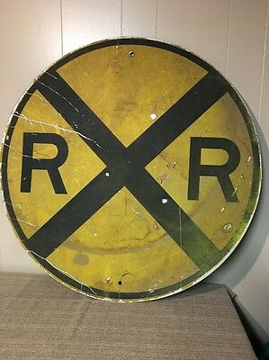 Vintage Railroad Crossing Sign, All Metal Yellow And Black 30 Inches