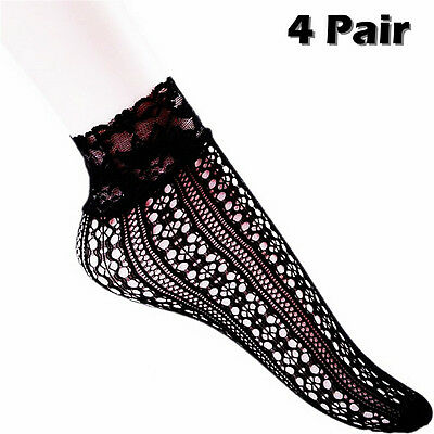 4 Pairs Fashion Women Girl Ankle Low Cut Stocking Lace Knit Tights Socks Hosiery