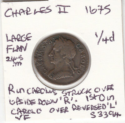 1675 Charles II Farthing Spink 3394 UNRECORDED - SEE DESCRIPTION