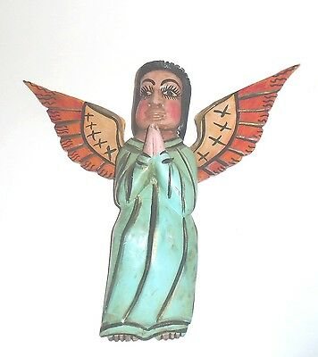 Mexican Carved Wooden Folk Art Angel with Hand Painted Decoration