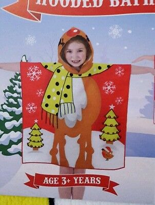 Kids christmas reindeer towel poncho perfect for christmas eve boxes bnwt unisex
