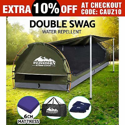 Weisshorn Double Camping Swags Canvas Free Standing Dome Tent Bag Celadon