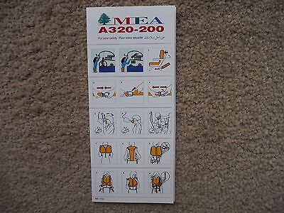 MEA Airbus A320 Airline Safety Card
