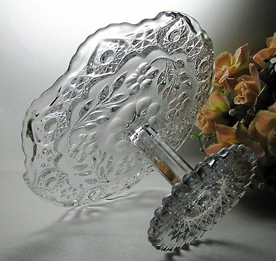 """ANTIQUE CAKE STAND Tazza by US GLASS """"FLOWER and DIAMOND"""" Pattern ~ EAPG c1913"""
