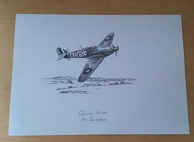 Raf Spitfire Drawing Signed By Battle Of Britain Pilot George Palliser 249 Sqn