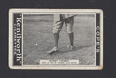 1923 Cope Golf Strokes card # 4 Harry Vardon feet at top of wooden club swing