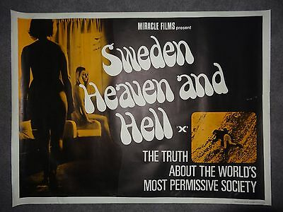 Sweden Heaven And Hell Rare Rolled 1968 Sexploitation Adult UK Quad Film Poster