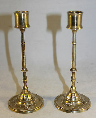 "Pair of Vintage Brass Indian Slim Table Candlesticks 6.25"" Tall"