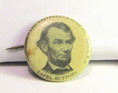 Compliments of Whitehead & Hoag Abraham Lincoln Lapel Button Tin Pin