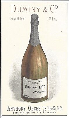 Fine Trade Card, Duminy & Co., Producer of Champagne & Sparkling Wines, c1880
