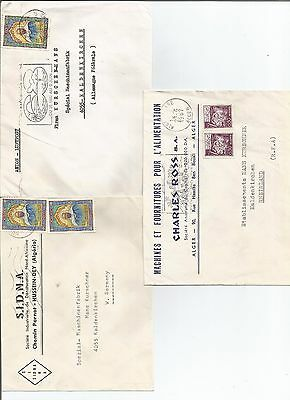 ALGERIA THREE 1960's TYPED COVERS TO GERMANY    REF 39