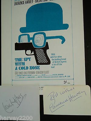 Laurence Harvey..,lionel Jeffries......(Film)....hand Signed Autographs On Pages
