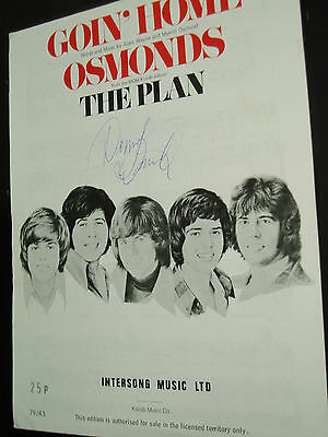 "Donny Osmond.......(Pop)..hand Signed Autograph On ""the Osmonds"" Sheet Music"