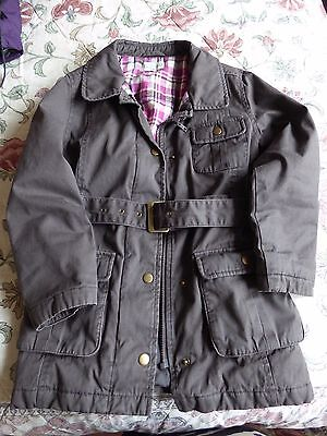 INDIGO - Girls, Brown Cotton, Lined, Belted, Country-Style Jacket Age 7-8 years
