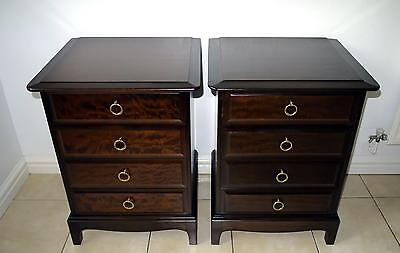 Pair of Stag Minstrel 4 Drawer Bedside Cabinets / Tables Chest of Drawers