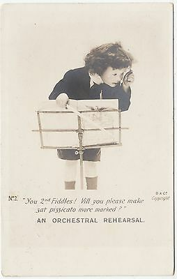 AN ORCHESTRAL REHEARSAL - The 2nd Fiddles - Music - 1903 used Edwardian postcard