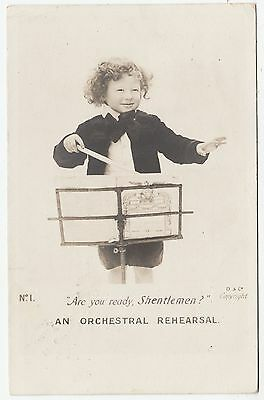 AN ORCHESTRAL REHEARSAL - Boy Conductor - Music - 1903 used Edwardian postcard