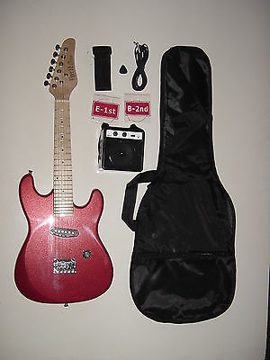 """Kids 31""""  Red 1/2 Size Electric Guitar with Battery Powered Amp"""