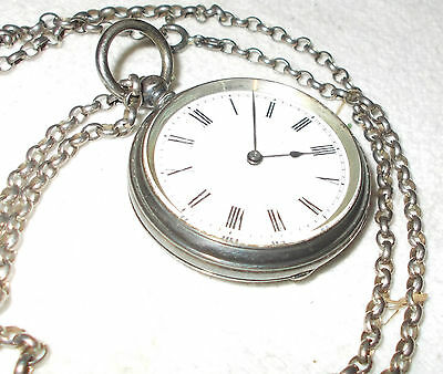 Silver CASED Pocket WATCH Antique 1881 LONDON With FOB Chain