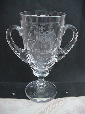 Stuart Crystal Goblet. Princess Anne & Mark Phillips Wedding 1973. Ltd Ed.