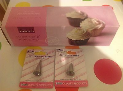 BNIB Lakeland 50 X Get A Grip Piping/icing Bags & 2 New Stainless Steel Nozzles