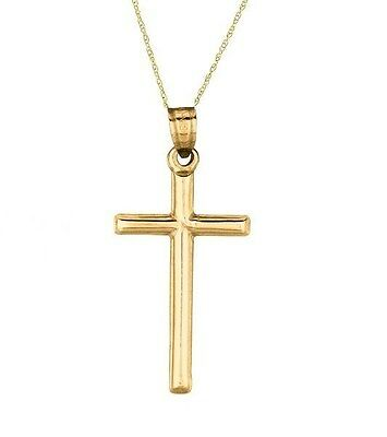 """14k Solid Yellow Gold Tubular Cross Necklace Pendant 18"""" Chain"""