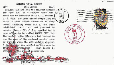 1994 Eloy, Arizona Cancels on a Postaster Signed Cover w Postal History Cachet