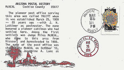 1994 McNeal, Arizona Cancels on a Postaster Signed Cover w Postal History Cachet
