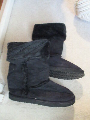 New Furry Slippers Boots Black 6 Rubber Sole Warm Cosy Winter Foot Glove